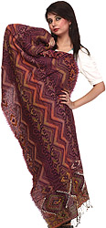 Purple Jamawar Stole with Zig-Zag Weave and Embroidered Mirrors