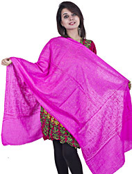 Rasperry Rose-Pink Kashmiri Tusha Stole with Needle Stitch Paisleys Embroidered by Hand All-Over