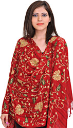Crewel Embroidered Stole with Crystals and Sequins