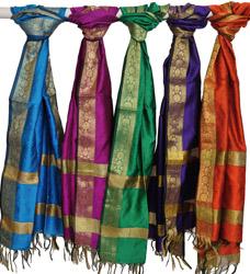 Lot of Five Banarasi Scarves with Brocade Weave
