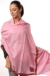 Plain Pink Pure Pashmina Shawl with Intricate Kashmiri Sozni Embroidery by Hand on Borders