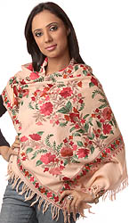 Peach Stole from Kashmir with Floral Floral Embroidery
