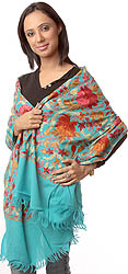Turquoise-Blue Jamdani Stole from Kashmir with Dense Floral Embroidery All-Over