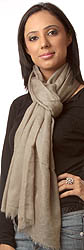 Khaki Pure Pashmina Shawl with Self Weave, as an Imitation of Shahtush