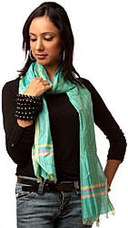 Green Striped Scarf Hand-woven in Madhya Pradesh