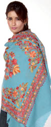 Sky-Blue Ari-Embroidered Stole from Kashmir with Embroidered Flowers