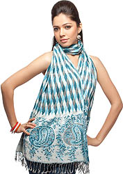 Ivory and Blue Woven Scarf