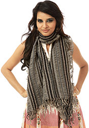 Black and Gray Crinkled Scarf with Woven Stripes