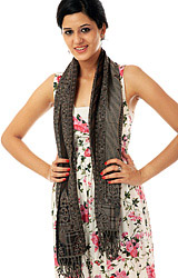 Black Reversible Jamawar Scarf with Woven Paisleys