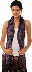 Purple and Gray Jamawar Scarf with Woven Tiger Stripes