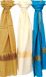 Lot of Three Plain Tusha Stoles with Needle Embroidery by Hand