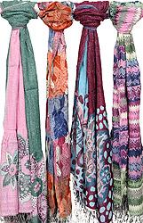 Lot of Four Jamawar Scarves