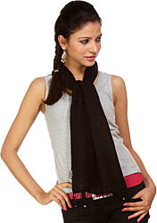 Plain Black Silk-Pashmina Scarf