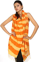Jaffa-Orange and Cadmium-Yellow Printed Silk-Pashmina Stole from Nepal