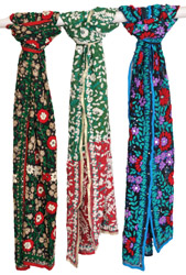 Lot of Three Phulkari Scarves from Punjab with Threadwork and Sequins