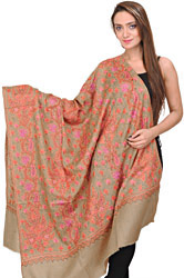 Antique-Bronze Kashmiri Tusha Shawl with All-Over Sozni Embroidered Chinar Leaves by Hand