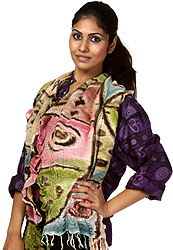 Multi-Color Crinkled Scarf with Random Print