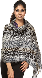 Black and Gray Jamawar Stole with Woven Rhomboids All-Over
