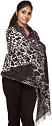 Smoke-Gray Jamawar Stole with Jacquard Woven Leopard Skin