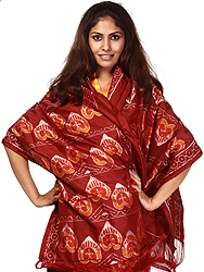Oxblood-Red Stole from Orissa with All-Over Ikat Weave