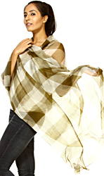 Green White Fine Wool Shawl With Woven Checks