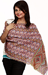 Bordeaux Jamawar Stole with All-Over Weave and Crewel Embroidery on Border