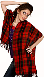 Red and Black Plaid Reversible Scarf with Jamawar Weave on Reverse