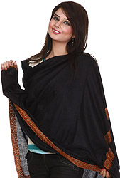 Plain Black Pure Pashmina Shawl from Kashmir with Hand-Embroidered Meenakari Border