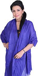 Plain Clematis-Blue Reversible Cashmere Stole