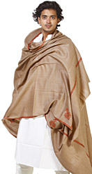 Plain Khaki Kingri Shawl for Men with Hand-Embroidered Meenakari Border
