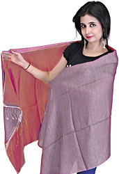 Plain Reversible Water-Pashmina Stole from Nepal