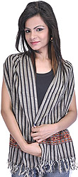Steel-Gray Striped Scarf from Kullu with Kinnauri Woven Border