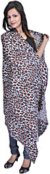 Ether-Blue Leopard-Skin Printed Shawl from Nepal
