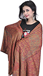 Baked-Clay Reversible Jamawar Stole with Large Woven Paisleys