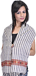Drizzle-Gray Striped Scarf from Kullu with Kinnauri Woven Border