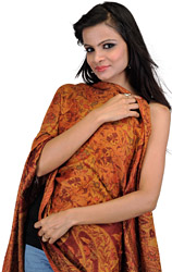 Honey-Gold Reversible Jamawar Stole with Woven Paisleys and Flowers