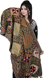 Golden-Olive and Brown Jamawar Stole with Floral Embroidery