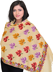 Stole from Kashmir with Hand Embroidered Maple Leaves