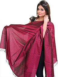 Banarasi Handloom Shawl with Tanchoi Weave All-Over