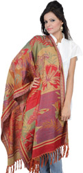 Scarlet and Beige Jamawar Stole with Woven Flowers