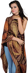Beige and Brown Jamawar Reversible Stole with All-Over Weave