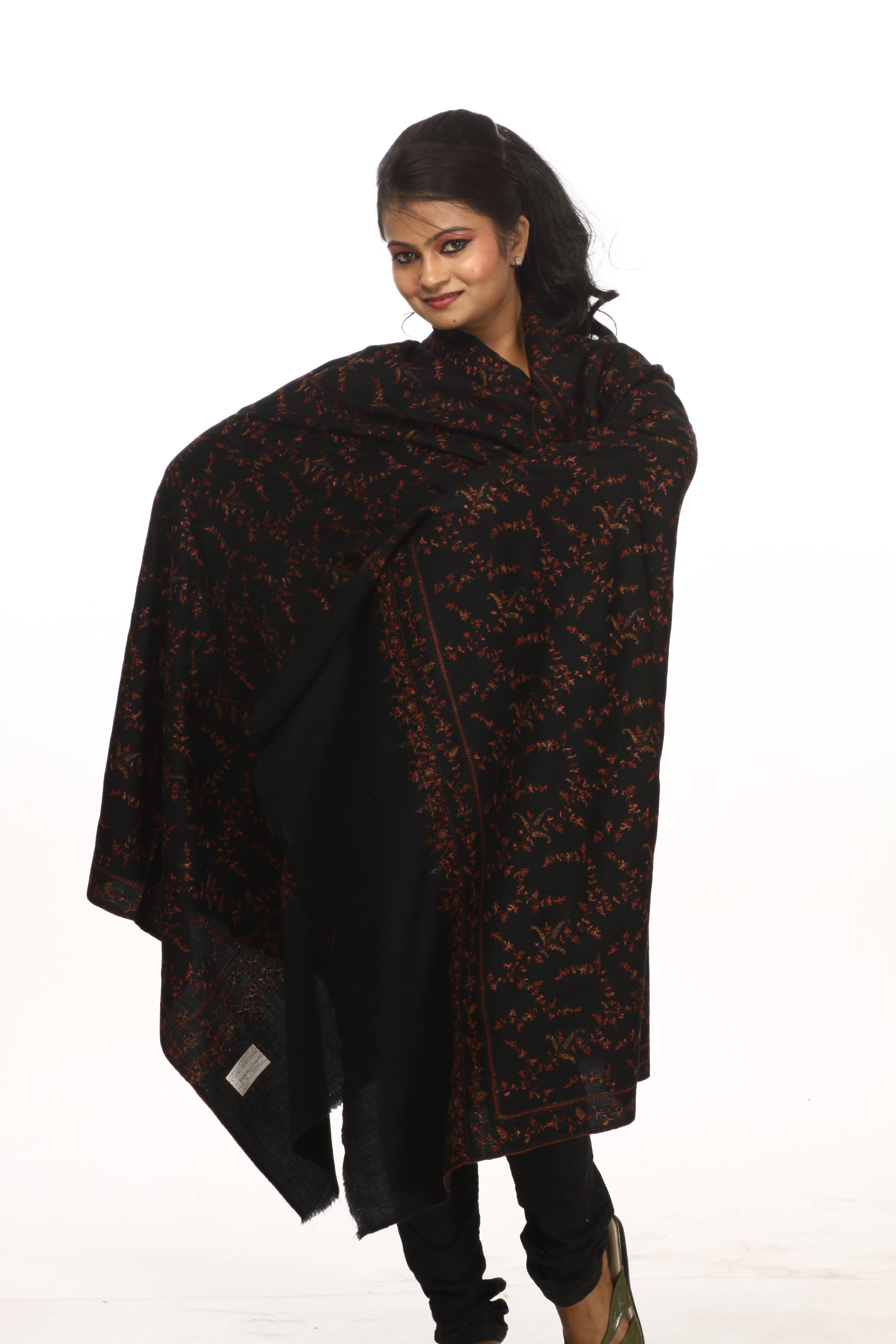 Black Pashmina Shawl from Kashmir with Sozni Hand Embroidered Flowers