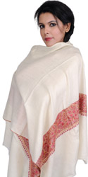 Plain Stole from Kashmir with Sozni Hand Embroidered Border