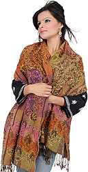 Brown Reversible Jamawar Stole with Floral Embroidery