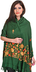 Stole from Kashmir with Hand Embroidered Flowers on Border