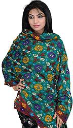 Cadmium-Green Phulkari Dupatta from Punjab with Ari Embroidered Flowers