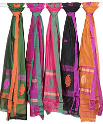Lot of Four Chanderi Dupattas with Woven Bootis