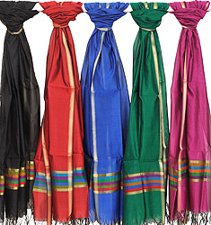 Lot of Four Plain Chanderi Dupattas with Golden Border