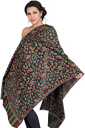 Black Kani Stole with Woven Paisley in Multi-Colored Thread