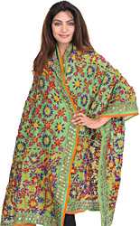 Bud-Green Phulkari Dupatta from Punjab with Ari Embroidered Flowers